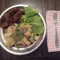 Fried Seitan and Potato Salad / Пржен сејтан со компир салата